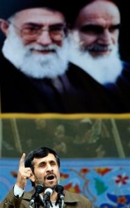 Iranian President Mahmoud Ahmadinejad, speaks during a ceremony at celebrations marking the 30th anniversary of the 1979 Islamic revolution that toppled the U.S.-backed late Shah Mohammad Reza Pahlavi and brought hard-line clerics to power, in Tehran on Tuesday Feb, 10, 2009.  Iran welcomed talks with the new administration of U.S. President Barack Obama on the basis of mutual respect, President Mahmoud Ahmadinejad said. Photo of Iran's late leader Ayatollah Khomeini, and Iran's supreme leader Ayatollah Ali Khamenei, are seen in background.(AP photo/Hasan Sarbakhshian)