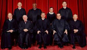 The current United States Supreme Court, the highest court in the United States in a 2006 photo by Steve Petteway. Top row (left to right): Associate Justice Stephen G. Breyer, Associate Justice Clarence Thomas, Associate Justice Ruth Bader Ginsburg, and Associate Justice Samuel A. Alito. Bottom row (left to right): Associate Justice Anthony M. Kennedy, Associate Justice John Paul Stevens, Chief Justice John G. Roberts, Associate Justice Antonin G. Scalia, and Associate Justice David H. Souter, who has resigned on 1 May 2009.