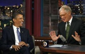 "U.S. President Barack Obama laughs during the taping on his guest appearance on the ""Late Show with David Letterman"" show in New York, September 21, 2009. REUTERS/Kevin Lamarque"