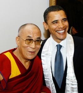 """HH the Dalai Lama with President Barack Obama.  Meeting at the Senate, 2005 (Photo by Sonam Zoksang. High-quality, archival inkjet 8.5"""" x 11"""" print signed by the photographer: $15.00 ALL PROFITS from the sale of this photo will go to www.studentsforafreetibet.org)"""